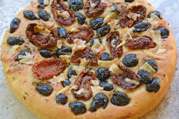 Sfincione(Focaccia) with SundriedTomatoes, Olives, and Anchovies
